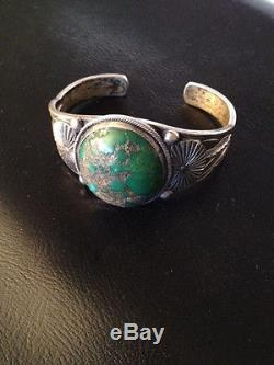 Antique Fred Harvey Era Dead Pawn Silver Turquoise Stampwork Cuff Bracelet