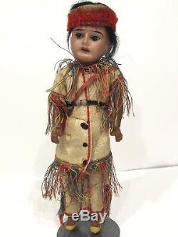 Antique German Bisque Head Native American Indian 10 Doll Composition Body