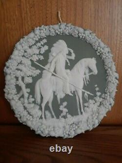 Antique German Jasperware Native American Chief wall plaque 7