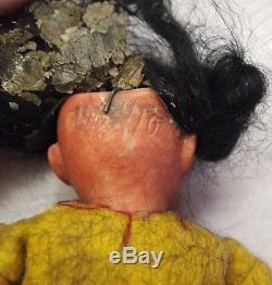 Antique German Native American Doll Fierce Warrior Indian 8.5 Sienna Bisque