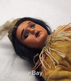Antique German Native American Doll Scowling Indian 7.5 Sienna Bisque Compo MH