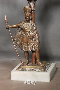 Antique Gilt Brass Marble Candelabra Figural Native American Indian Victorian