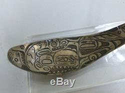 Antique Haida Engraved Coin Silver Spoon Wasco, Killer Whale, and Raven