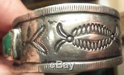 Antique Handmade Navajo American Indian Old Pawn Silver Turquoise Cuff Bracelet