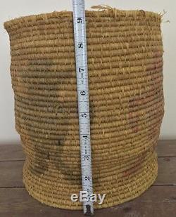 Antique Hopi Indian Coil Basket With Mudhead Kachina Figures Maine Estate 9.25