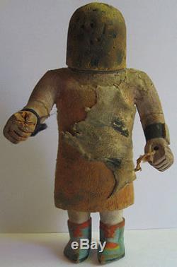 Antique Hopi Pueblo Indian Carved Wood And Leather Kachina