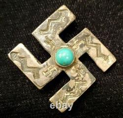 Antique Indian Native American Hand Stamped Cut Swastika Pin Navajo Turquoise