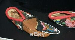 Antique Iroquois Indian Beaded Leather Baby Moccasins Native American