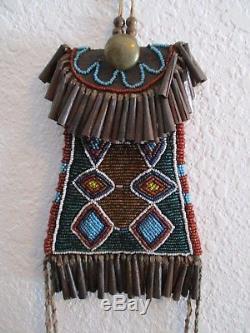 Antique Kiowa Beaded Strike- A- Lite Bag