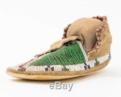 Antique Lakota Sioux Plains Beaded Hide Moccasin Native American Indian Shoe