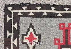 Antique Large 19thC American Western Navajo Indian Hand Woven Wool Rug NR