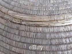 Antique Large Alaskan Native American Lidded Basket mid 1800's