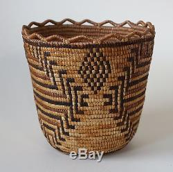 Antique Large Klickitat Native American Indian Salish Coiled Berry Basket