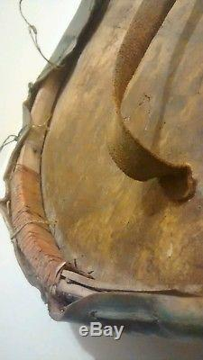 Antique Late 1800's Native American Indian Painted Rawhide Ceremonial War Shield