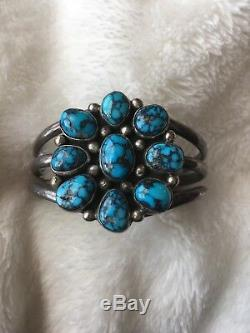 Antique Lone Mountain Turquoise Early Tommy Singer Bracelet, Gem Grade Turquoise