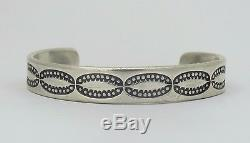 Antique Marked U. S. Navajo Stamped Coin Silver Cuff Bracelet (24.5 g) 6.25
