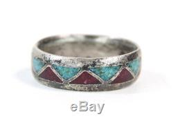 Antique Mens Inlaid RIng Native American Turquoise Coral Navajo Chip Inlay Sz 12