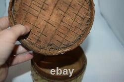 Antique Micmac Mi'kmaq Native American Birch Wood Quill Basket Box First Nation