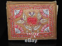 Antique Micmac Native American Indian Birch Bark & Leather Document Wallet