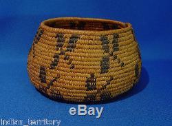 Antique Mission Indian Basket Three-Leaf Sumac c. 1900