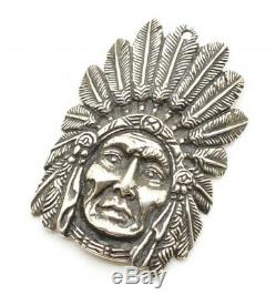 Antique N Kuhn Sterling Silver Native American Indian Chief Pendant Badge Pawn