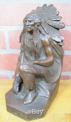 Antique NATIVE AMERICAN INDIAN CHIEF KATHODIAN BRONZE WORKS Art Bronze BE Statue