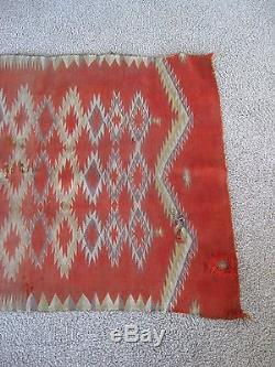 Antique NAVAJO INDIAN NATIVE AMERICAN MULTICOLOR ORANGE TRANSITIONAL RUG BLANKET