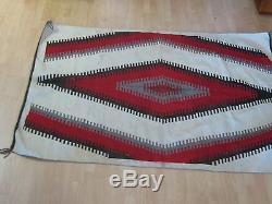 Antique NAVAJO INDIAN NATIVE AMERICAN TRADE BLANKET RUG EYE DAZZLER HUGE 78X54