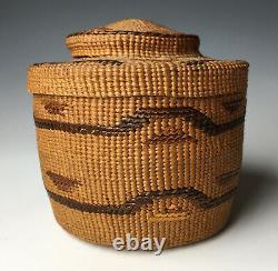 Antique NW Coast Tlingit Rattle Top Basket Native American Lidded Antique 19th C