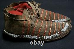 Antique Native American Beaded and Quilled Mocassins Sioux Lakota