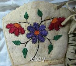 Antique Native American CREE WOODLANDS Beaded Hide Gauntlet Gloves 1920's