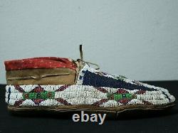 Antique Native American Cheyenne- Sinew Beaded Mocassins -1890 ca