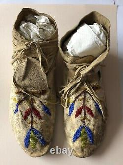 Antique Native American Crow Beaded Moccasins