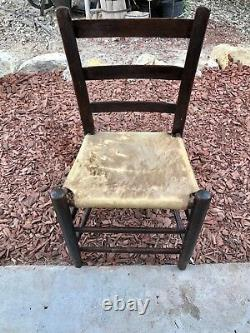 Antique Native American Handmade Cowhide Ladder Back Chair FREE SHIPPING