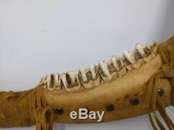 Antique Native American INDIAN JAWBONE WAR CLUB TOMAHAWK Buffalo Bison