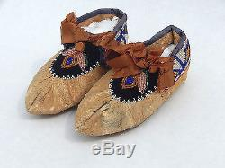 Antique Native American Indian Beaded Moccasins Iroquois Great Lakes Canada