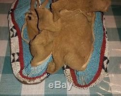 Antique Native American Indian Beaded Moccasins handmade