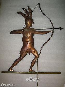 Antique Native American Indian Bow Arrow Copper Weathervane Free Shipping