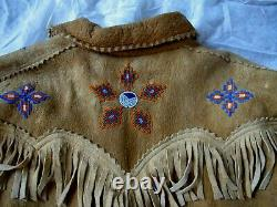 Antique Native American Indian Brain Tanned Elk Hide Beaded Fringed Jacket