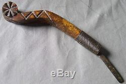 Antique Native American Indian Crooked Knife Carved Decorated Maple c 1900 Maine
