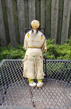 Antique Native American Indian Doll, Buckskin Dress, Museum Caliber, RARE