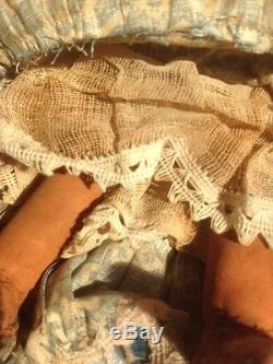Antique Native American Indian Fabric-in-clay Doll 10 Tall