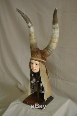 Antique Native American Indian HORNED SPIRIT DOLL horn, pelt, leather, beads