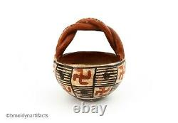 Antique Native American Indian Isleta Pueblo Red Geometric Pottery Basket