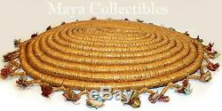 Antique Native American Indian Large Basket Tray Coil Decorated