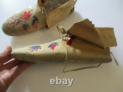 Antique Native American Indian Moccasins Plain Indian Sioux Rare Masterful Art