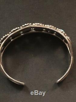 Antique Native American Indian Navajo Ingot Silver Turquoise Bracelet