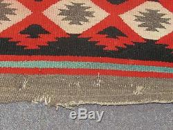 Antique Native American Indian Navajo Weaving Wool Blanket 5'3x6'5 = 63x77