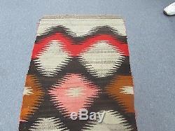 Antique Native American Indian Navajo Weaving Wool Blanket Rug Size 30 x 54