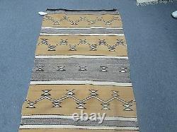 Antique Native American Indian Navajo Weaving Wool Blanket Rug Size 32 x 58